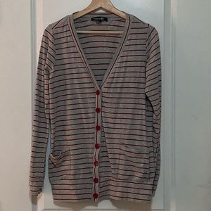Forever 21 Gray and red striped cardigan